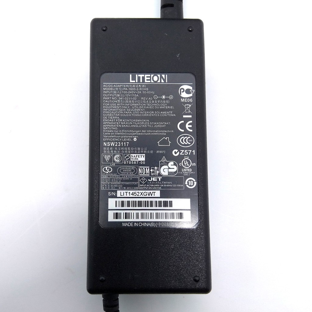 LITEON 12V 5A 60W PA-1600-2 ROHS AC/DC POWER SUPPLY ADAPTER CHARGER