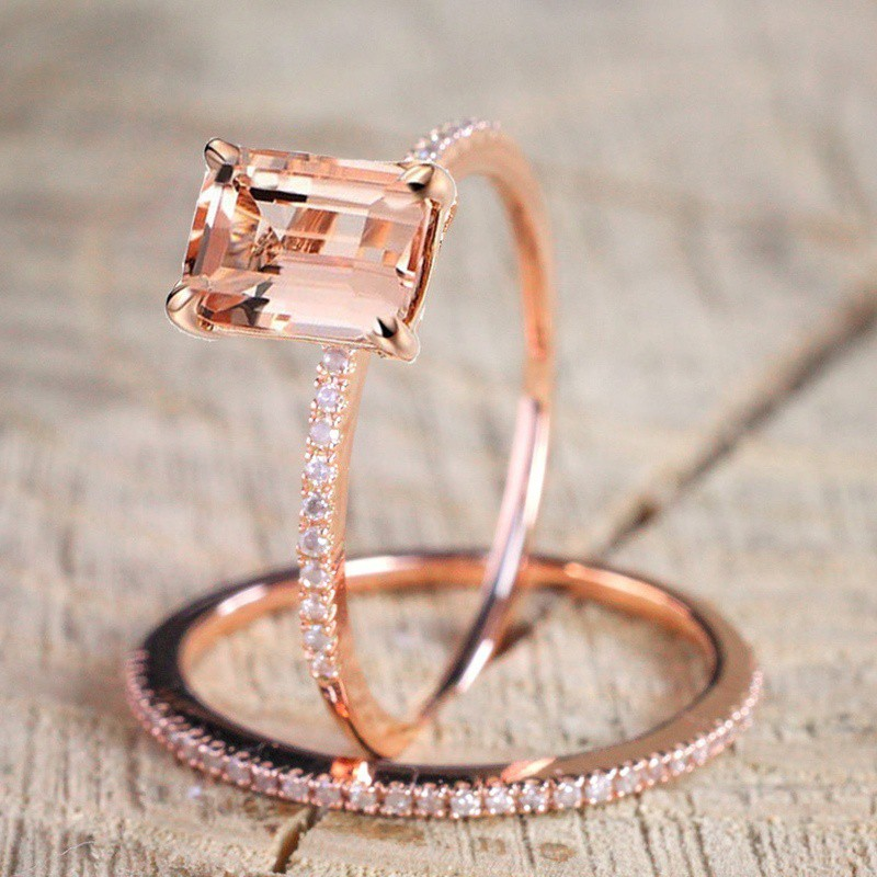 18k Rose Gold Plated Square Topaz 2 Piece Couple Ring Set Shopee Malaysia