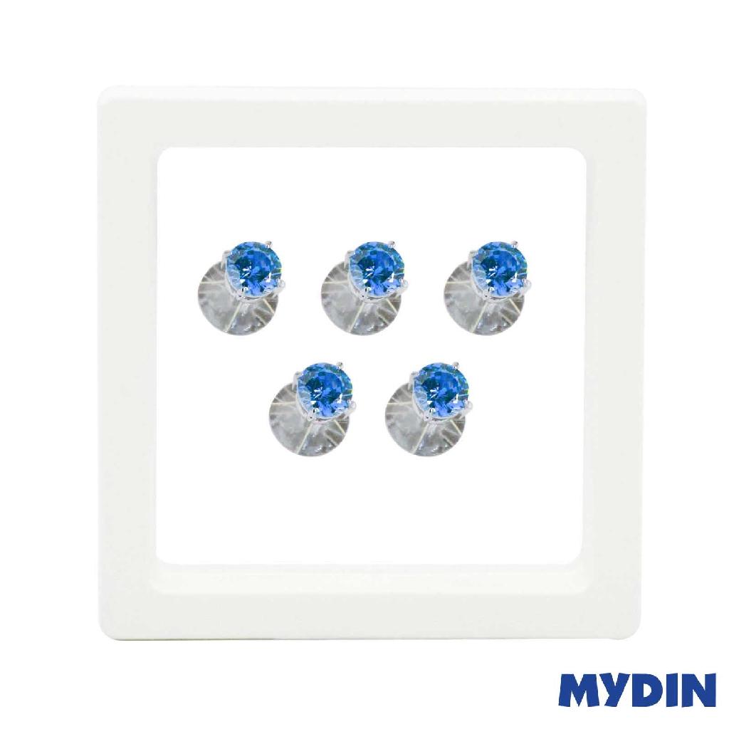 Armaan Button Zircon Blue 7MM SACEDS-10 #Raya