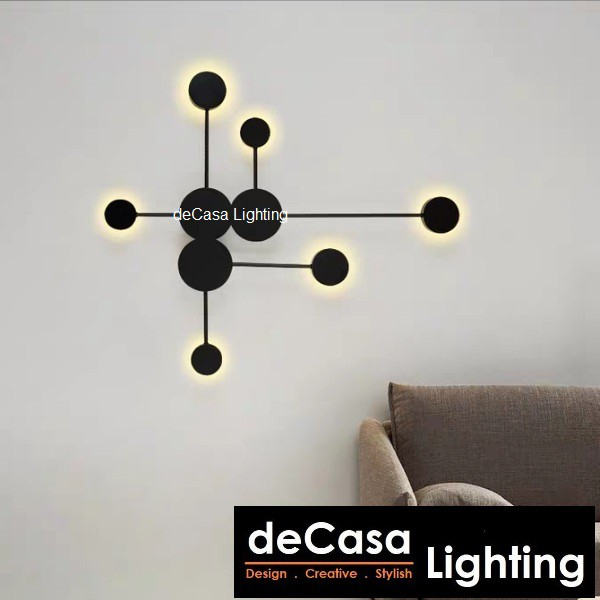 DECASA LIGHTING Modern Style LED Wall Lamp Indoor Wall light 27W LED (Black) Warm white Black Colour Lampu Dinding B2021