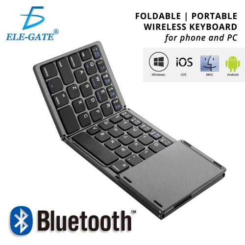 Foldable Bluetooth Keyboard QWERTY Touchpad USB Charging Wireless Phone  Tablet