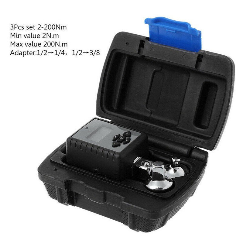 "3Pcs 2-200nm Digital Display Torque Wrench Adapter 1//2/"" Drive 3//8/"" 1//4/"" Adaptors"