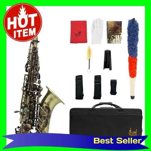 Vintage Style Bb Soprano Saxophone Sax Brass Material Woodwind Instrument with Carry Case Gloves Cleaning Cloth Brush S