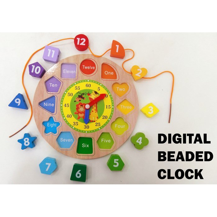 WOODEN DIGITAL LACING BEADING CLOCK FOR KIDS FINE MOTOR SKILL AND TIME LEARNING