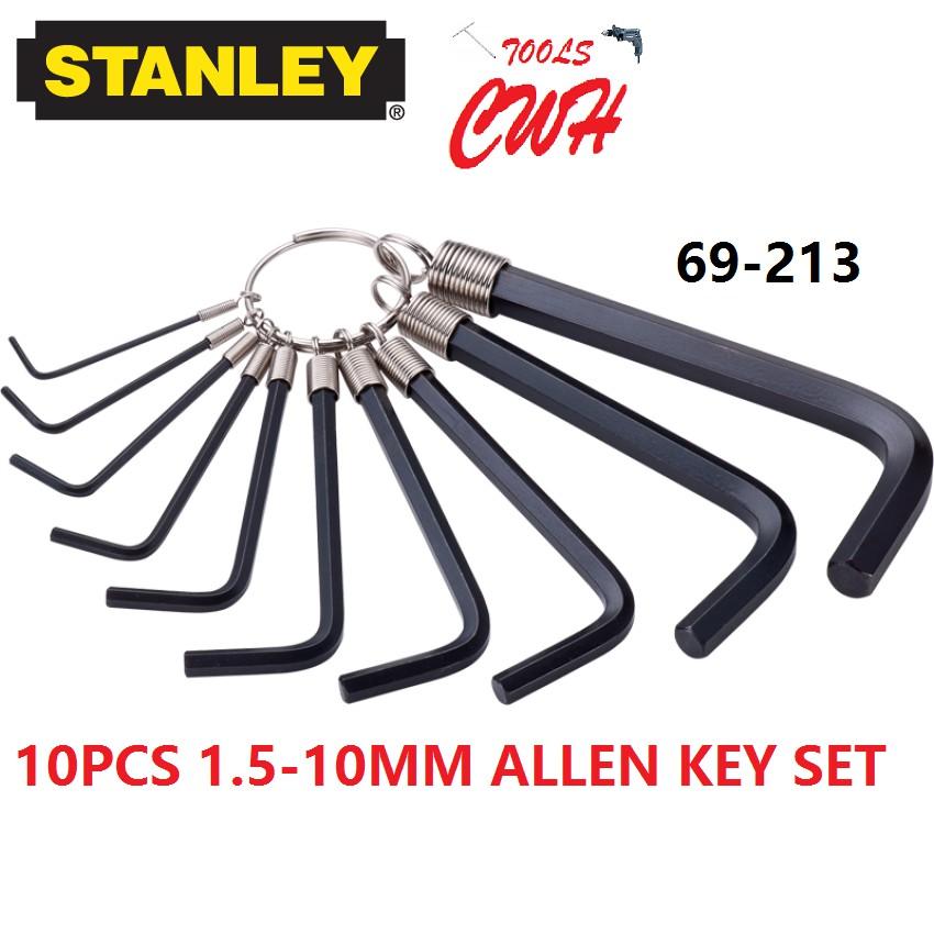 69-213 10PCS 1.5MM-10MM STANLEY HEX DRIVER ALLEN KEY DRIVES 69213