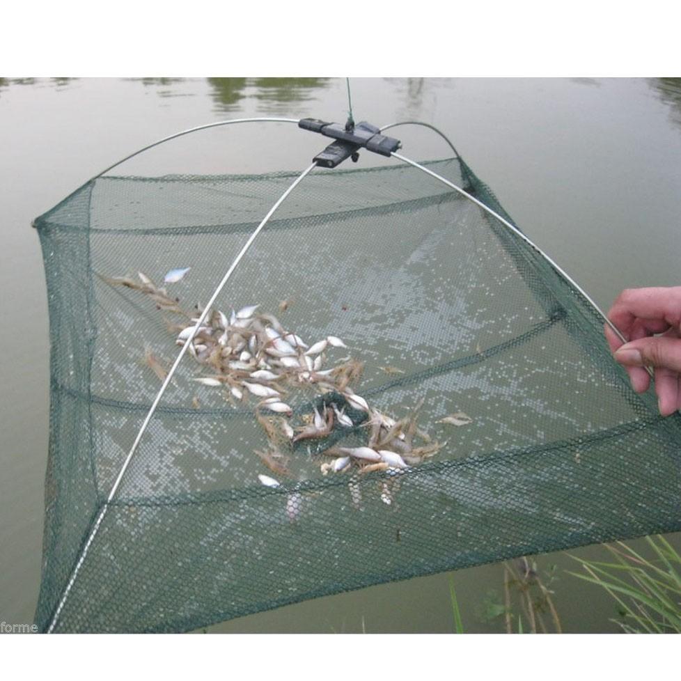 Folded Fishing Net Fish Shrimp Minnow Crab Baits Cast Net Mesh Tra