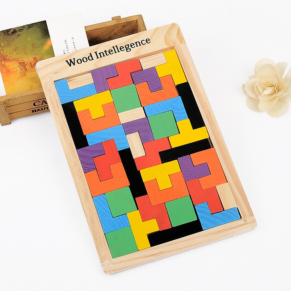 PREMIUM MONTESSORI WOODEN RUSSIAN TETRIS PUZZLE BLOCK TOY EDUCATION PRESCHOOL EARLY LEARNING TOYS BRAIN DEVELOPMENT