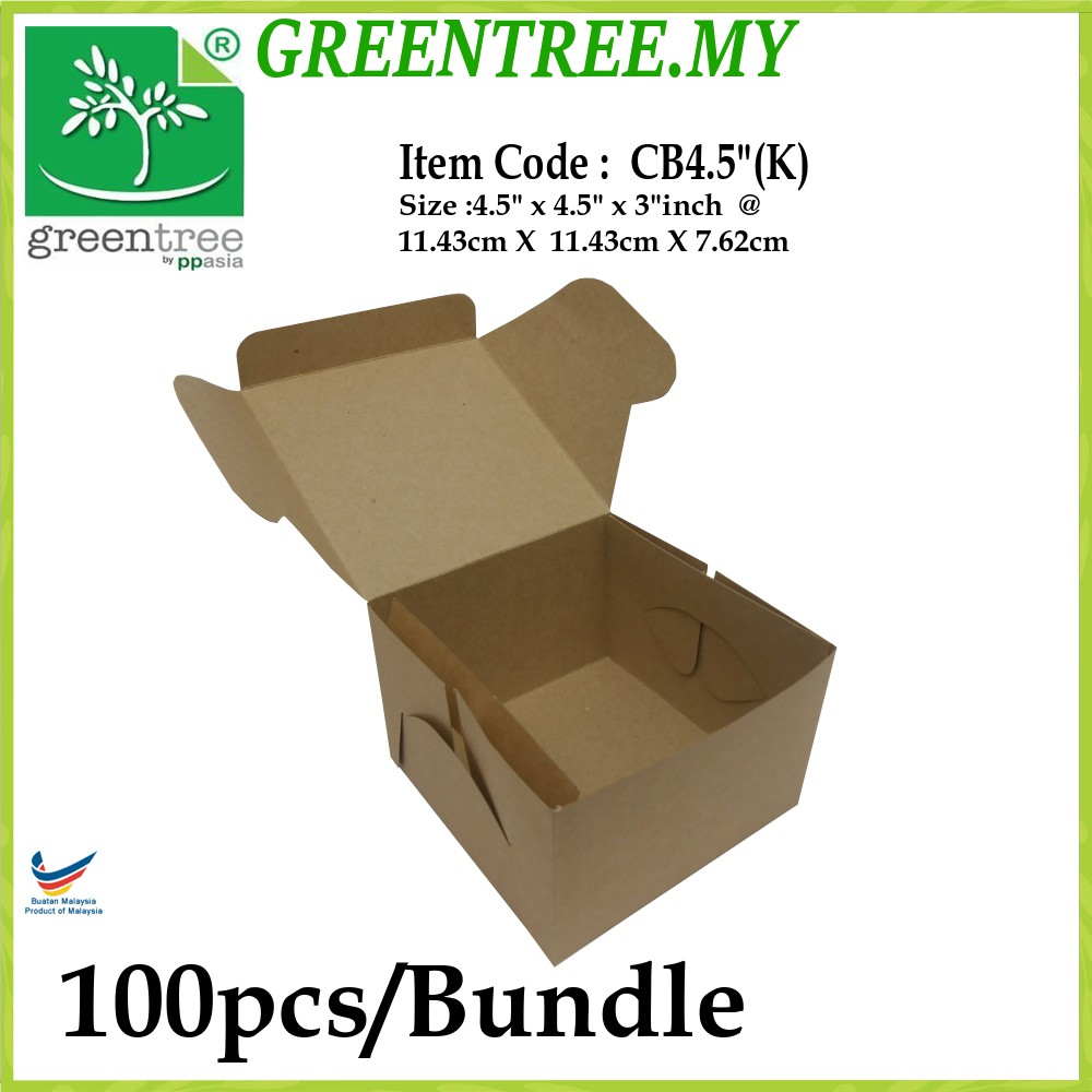 Kotak Kek Birthday Box Kraft Paper Brown 100pcs Bundle Shopee Malaysia