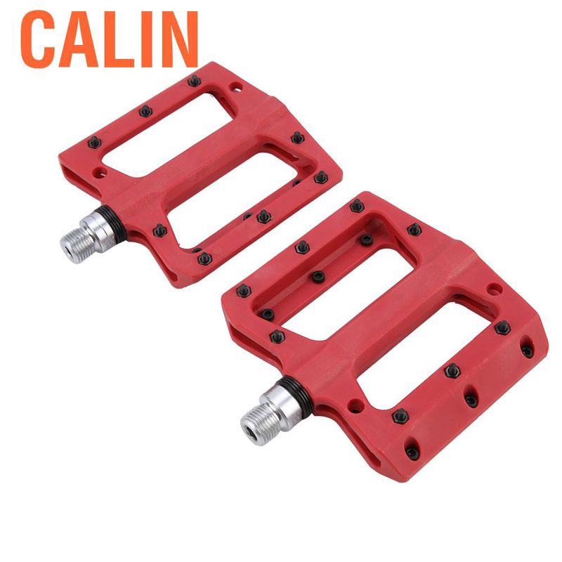 Lightweight Red Striped Small Bike Foot Peg Aluminum Metal Alloy 1 Pair