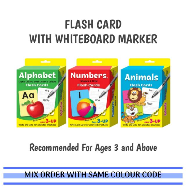 (DI) EARLY LEARNING FLASH CARD WITH WHITEBOARD MARKER | KAD IMBAS -  ALPHABET / NUMBERS / ANIMALS