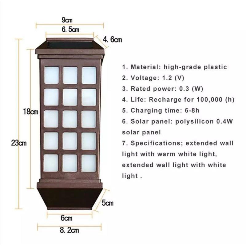[ READY STOCK ]  Solar Wall Light Outdoor Led Panel Wall Lamp Waterproof Garden Flash Bulb Jualan Murah Lampu Pelita Euro