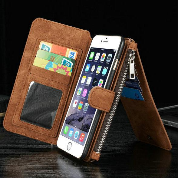 16abad81f Leather Case iPhone 7 8 6 6S Plus Vintage Zipper Wallet Cover X XS Retro  Purse | Shopee Malaysia