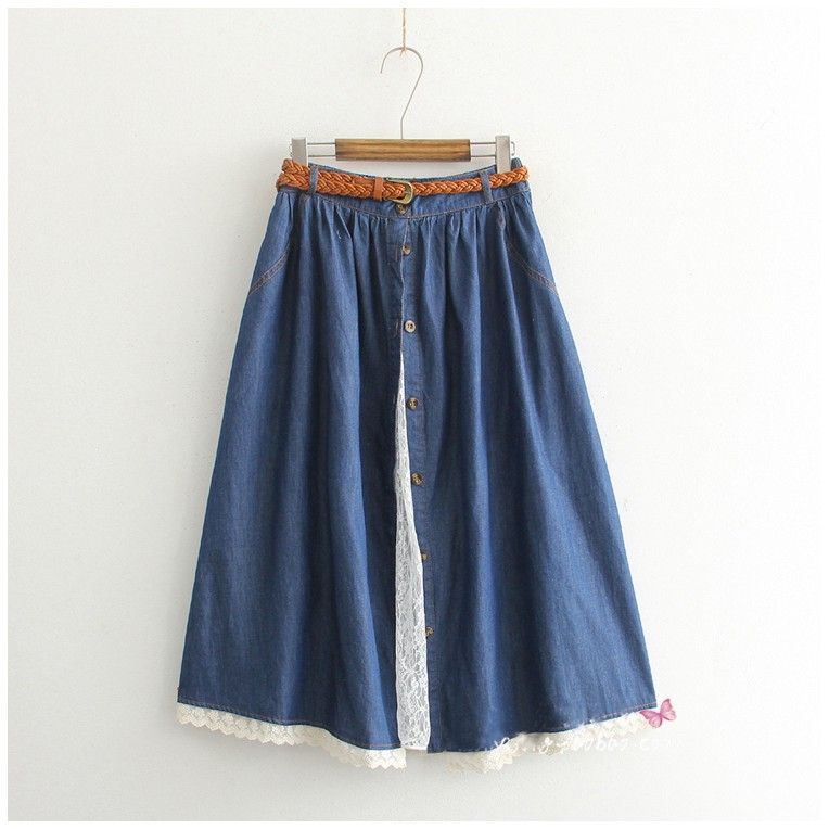 52dfc1db70 ProductImage. ProductImage. Summer Women Cotton Denim Skirt Femme Mori Girl  Style ...