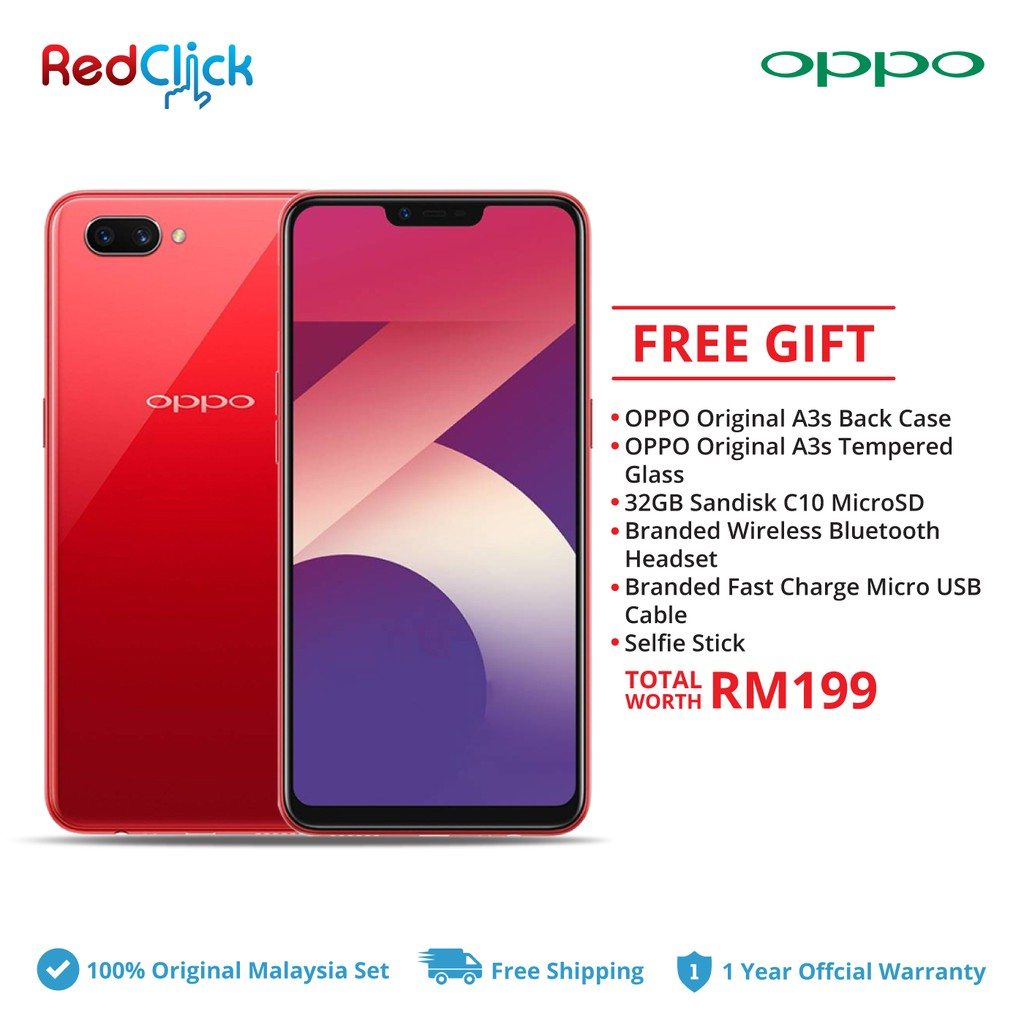 Oppo A3s Cph1803 2gb 16rom Official Oppo Malaysia Shopee Malaysia