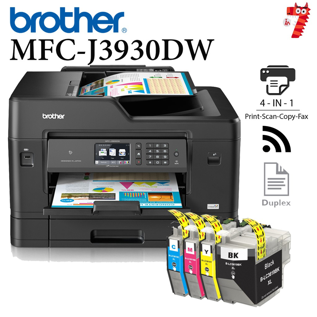 BROTHER INKBENEFIT MFC-J3930DW A3 PRINTER ALL IN ONE + Short Refillable CISS