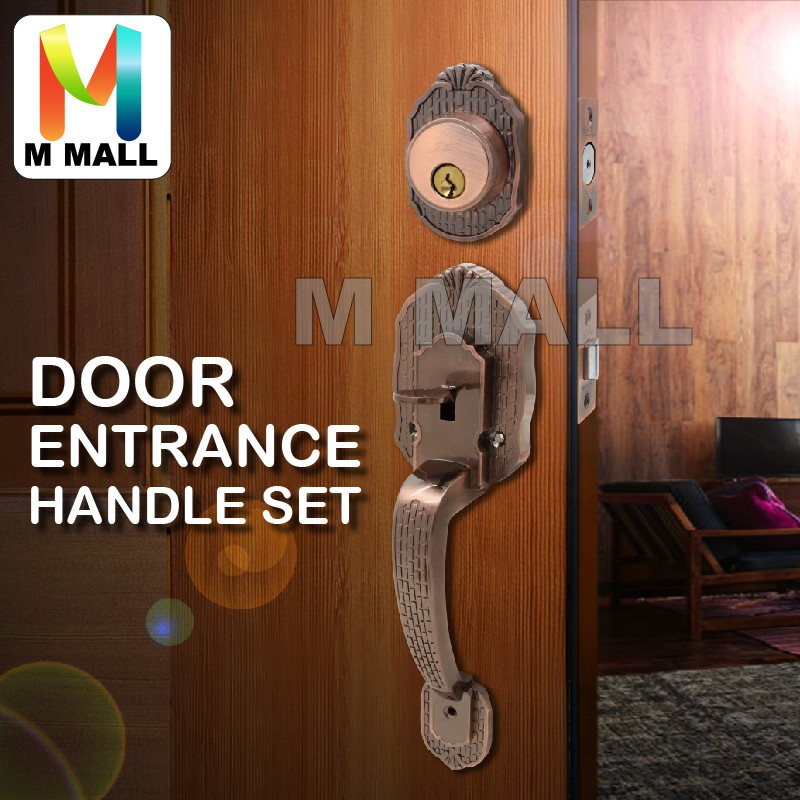 MMALL DOOR ENTRANCE HANDLE LOCK SET ANTIQUE COPPER TC1188AC