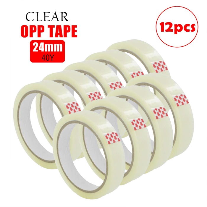 (SK) 12pcs Opp tape 24mm X40y Transparent Wrapping Tape