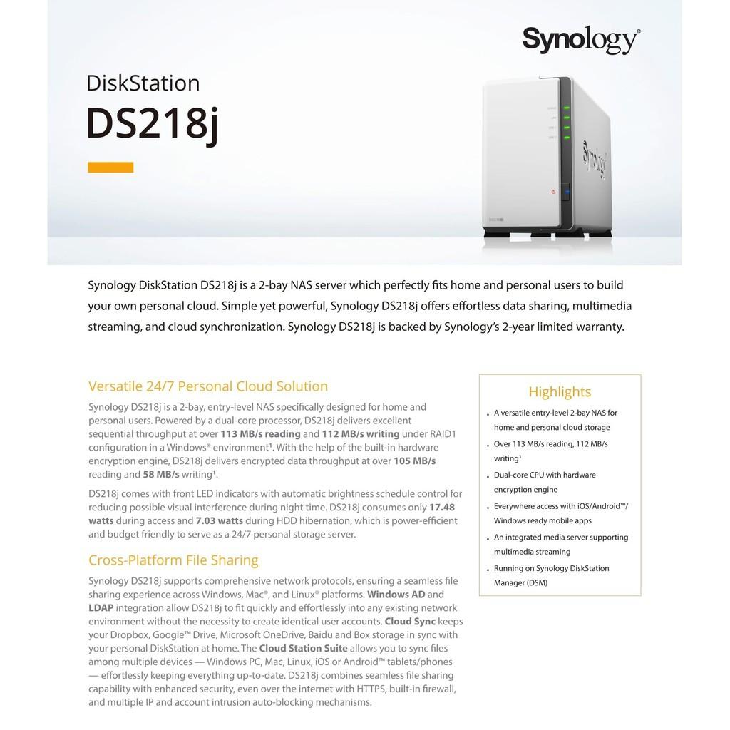 SYNOLOGY DS218J 2-BAY DISK STATION