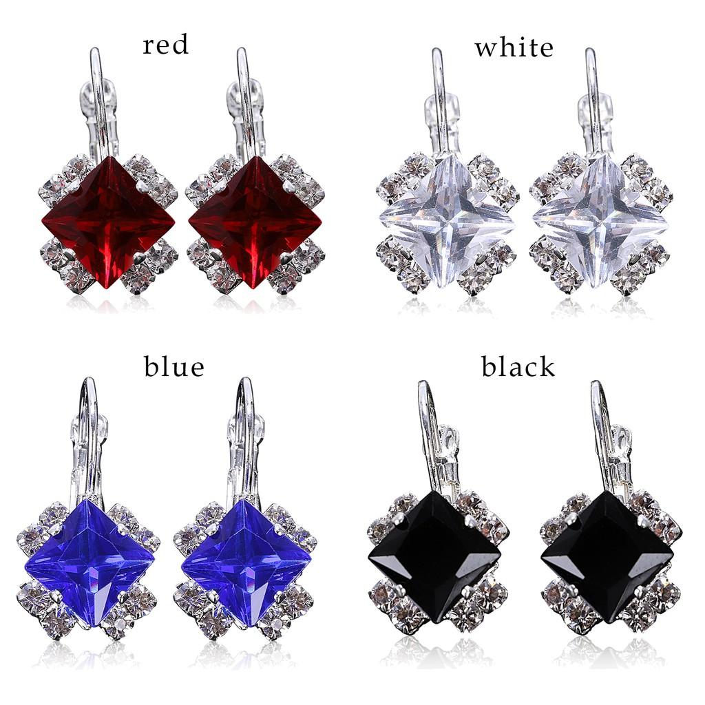 fcd9adf08443c Fashion Geometric Gemstone Earring Stud Fashion Earrings DIY for Gift Girl  Blue