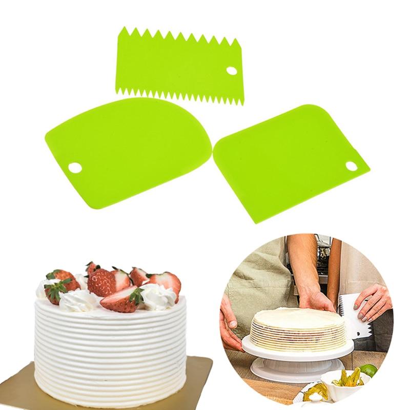 3pcs//set Irregular Teeth Edge DIY Cream Scraper Smooth Dough Cake Spatula Tool