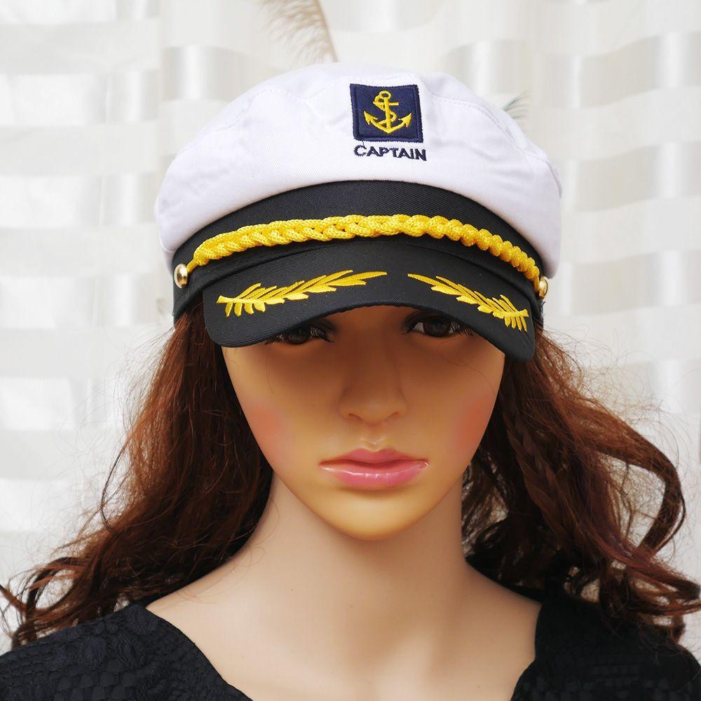 074314993a9a8 Skipper Ship Sailor Navy Cap Captain Party Fancy Dress Nautical Hat ...
