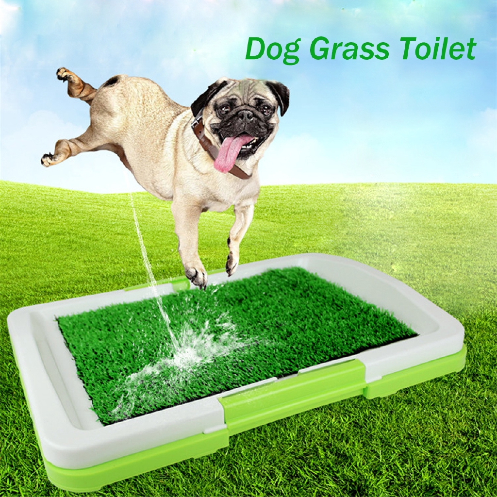 Training Potty Litter Tray With Grass Mat or Pads For Dog Puppy Pet odourless