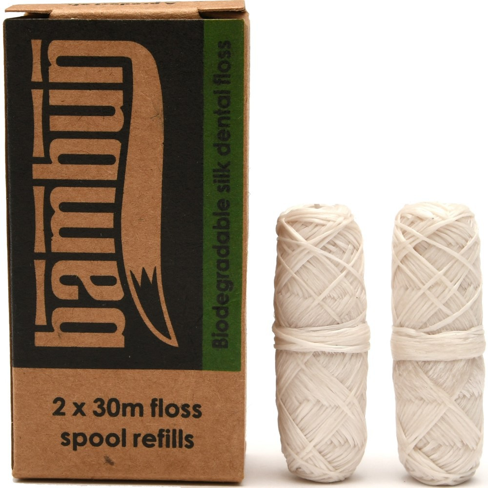 Bambun Dental Floss 30m x2 Refill Pack - Natural Mint