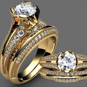 fbcd84100be82 Elegant Woman Men Huge White Topaz 18K Yellow Gold Plated Ring Wedding  Party Engagement Gift Ring Size 5-10