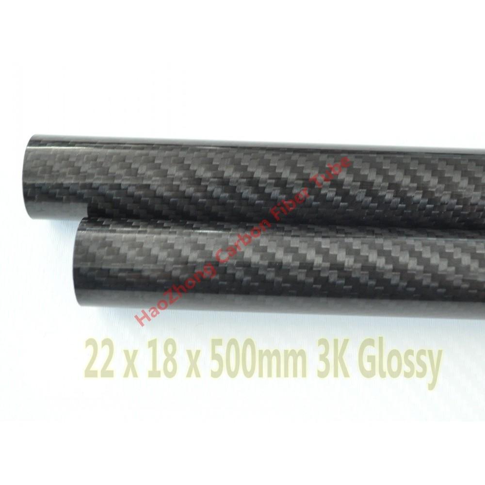 2pc 3K Carbon Fiber Tube x 500mm OD 5mm 6mm 7mm 8mm 9mm 10mm DE Roll Wrapped