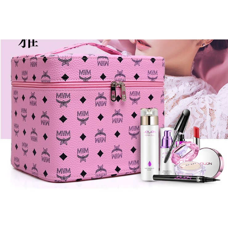 f7687d140ade Makeup cosmetic double folding storage bag portable cosmetic case, wash bag