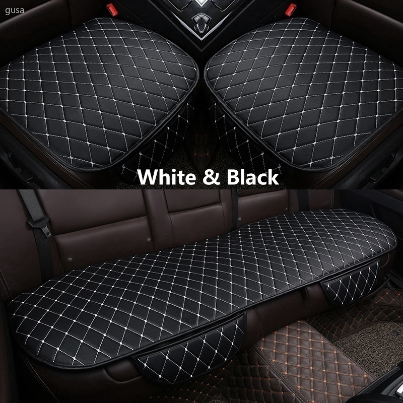 3pcs PU Leather Car Seat Cover Set Front /& Rear Cushion Full Set Mat Universal