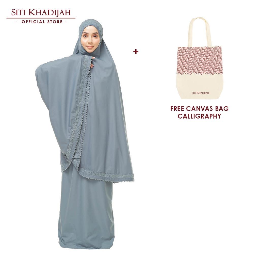 [Mawlid Sale] Siti Khadijah Telekung Modish Cadina Modern Fit + Free Canvas Bag Calligraphy