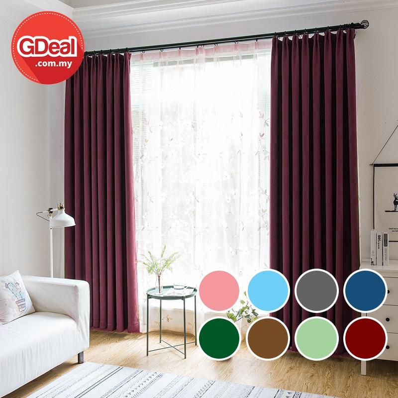 GDeal【Thick Curtains】Multicolor Cloth Velvet High Insulation Light Heat Insulation Curtain Langsir 100cmx130cm