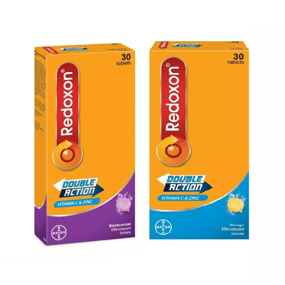 Redoxon Double Action Vitamin C 1g & Zinc Effervescent Orange/Blackcurrent