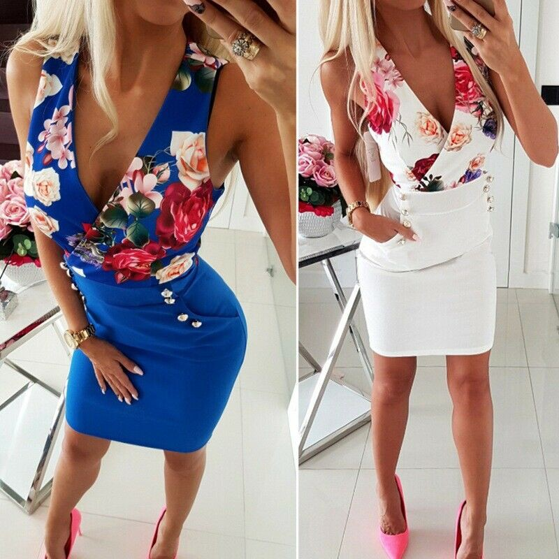 d93e25c6460cf Women Floral Printed V-Neck Club Party Side Pocket Bodycon Short Mini Dress