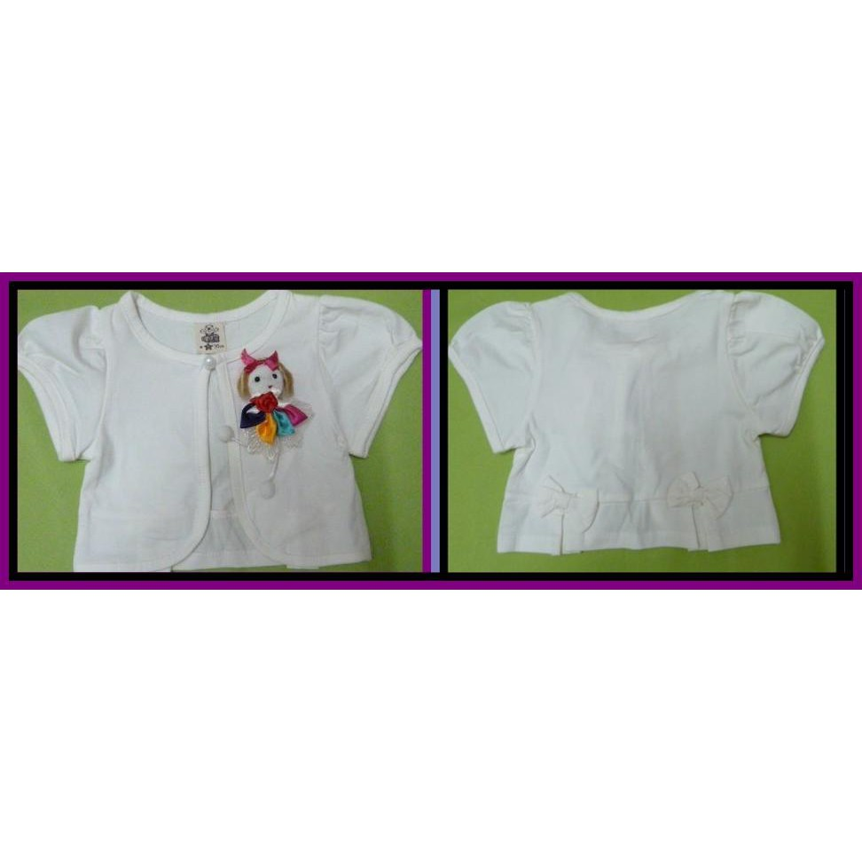 Short  Sleeve White Colour Cardigan For Little Girls Age 9 To 12 mths .