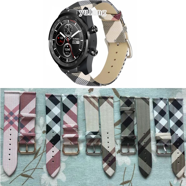 Tartan Plaid Style Band Leather Strap for Ticwatch Pro E2 S2