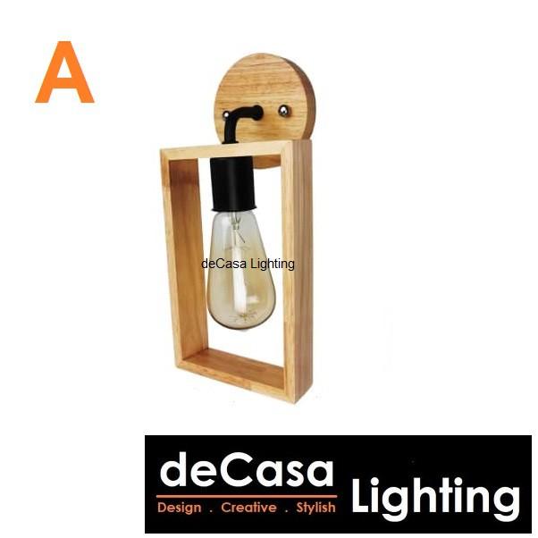 Simple Iron Wood Antique Dining Room / Bar Interior E27 Holder Decasa Lighting Retro Wood Bent Wall Light Indoor