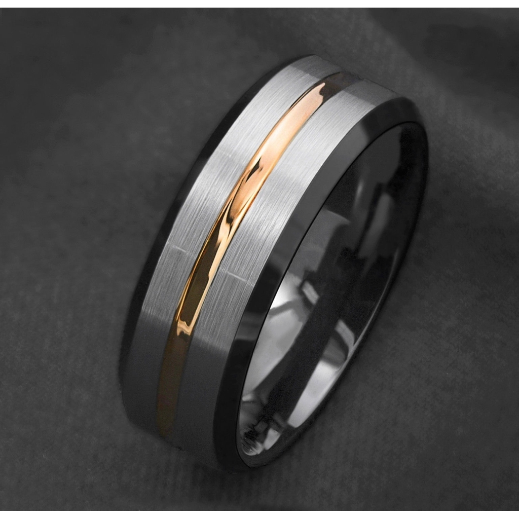 This is a photo of 42mm Silver Brushed Black edge Tungsten Rings Gold Stripe mens wedding band ring