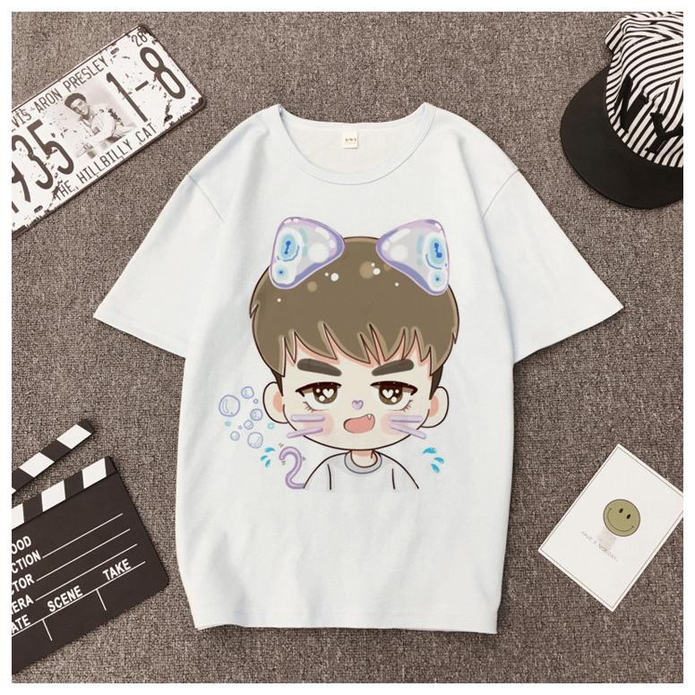 e46500b23b5c03 cat short sleeve T-shirt women brand casual round neck elastic white cotton  | Shopee Malaysia
