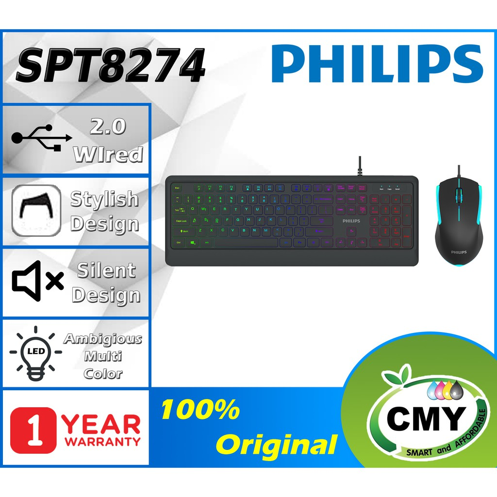 PHILIPS SPT8274 Wired Gaming Keyboard & Mouse Combo ( G824 / SPK8274 )