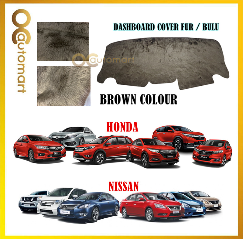 Customized Dashboard Cover Fur / Bulu For Honda Nissan Toyota Isuzu - Brown Colour