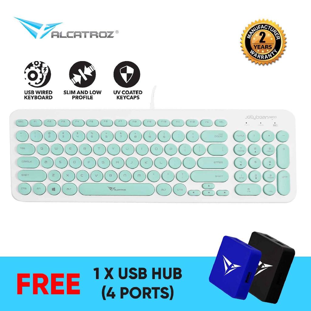 Alcatroz Jelly Bean U200 Slim USB Wired Keyboard [Free USB HUB]