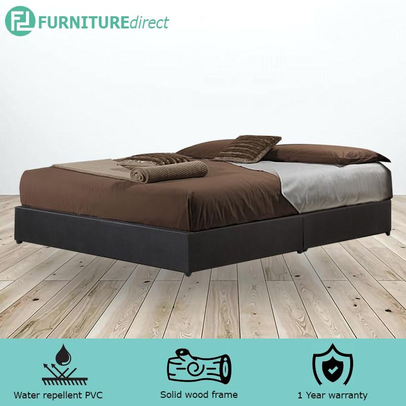 GIOVANNI WATERPROOF PVC DIVAN QUEEN BED BASE (PVC MATERIAL) – DARK BROWN