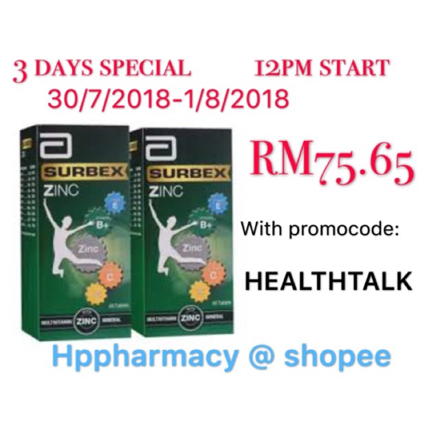 Abbott Surbex Zinc Tablets 60 S Shopee Malaysia