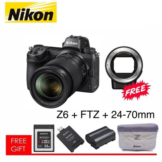 Nikon Z6 + FTZ + 24-70mm NIKON MALAYSIA Mirrorless DSLRCamera with 24-70mm Lens