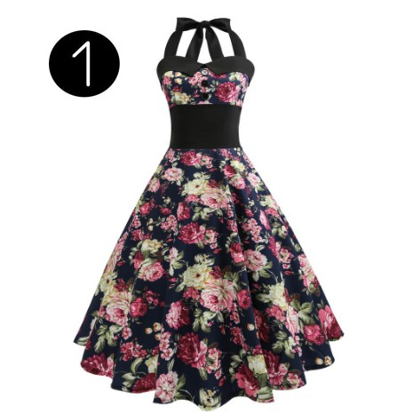 362b8a4206d76 Pinup Retro Vintage Dresses 2019 Ladies Dress Halter Floral Printed Elegant