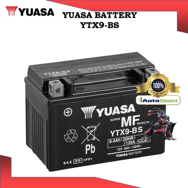 YUASA BATTERY YTX 9-BS SHADOW/CBR600/VS800/CBR900R/900RR/CB4/SYM VTS/JAGUH