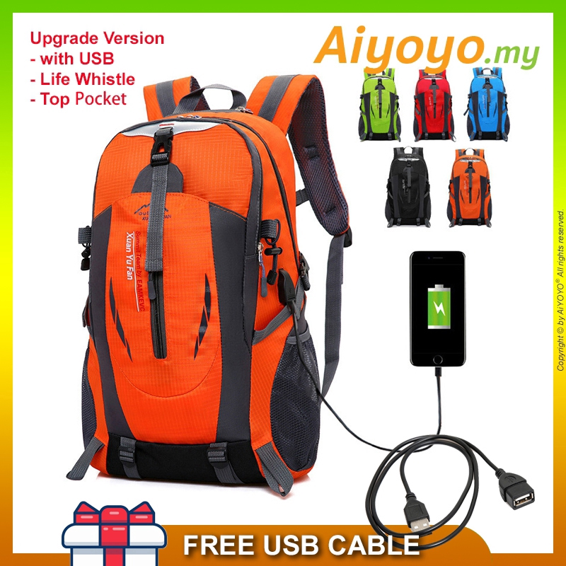 40L Outdoor Sport USB Backpack Bag Waterproof Laptop Hiking Camping Travel School Mountaineering Luggage Nylon Fashion M