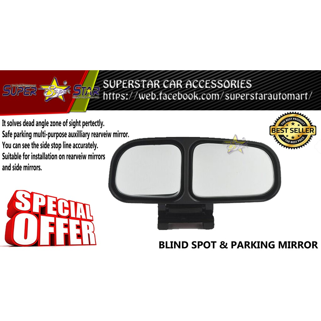 CAR Wide Angle Side RearView Blind Spot Mirrors (BLACK)